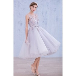 Australia Formal Dresses Cocktail Dress Party Dress Lavender A-line Bateau Tea-length Lace Organza