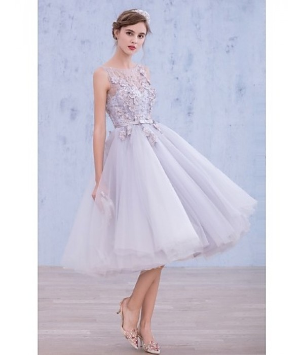 Australia Formal Dresses Cocktail Dress Party Dress Lavender A-line Bateau Tea-length Lace Organza Formal Dress Australia