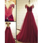 Australia Formal Dress Evening Gowns Burgundy A-line Scoop Court Train Tulle Formal Dress Australia