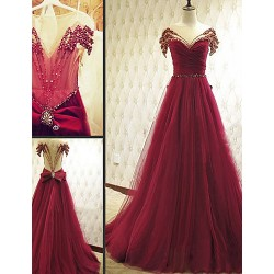 Australia Formal Dress Evening Gowns Burgundy A-line Scoop Court Train Tulle