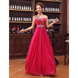 Australia Formal Dress Evening Gowns Fuchsia Plus Sizes Dresses A-line Sexy One Shoulder Long Floor-length Satin