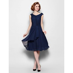 A-line Plus Sizes Dresses Petite Mother of the Bride Dress Dark Navy Short Knee-length Sleeveless Chiffon