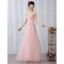 Australia Formal Dresses Cocktail Dress Party Dress Australia Formal Dress Evening Gowns Blushing Pink A Line Sexy One Shoulder Long Floor Length Lace Dress Tulle