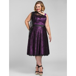 Australia Formal Dresses Cocktail Dress Party Dress Holiday  Dress Grape Plus Sizes Dresses Petite A-line Tea-length Lace Stretch Satin