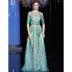 Australia Formal Dress Evening Gowns Clover Black A-line Bateau Long Floor-length Tulle Dress Charmeuse Sequined