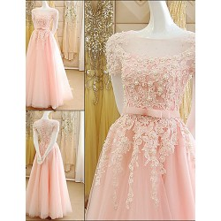 Australia Formal Evening Dress Pearl Pink A-line Scoop Long Floor-length Tulle Dress