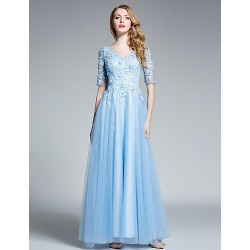 Australia Formal Dresses Cocktail Dress Party Dress Australia Formal Dress Evening Gowns Pool V Neck Long Floor Length Tulle Dress