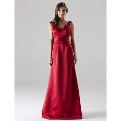 Long Floor-length Satin Bridesmaid Dress Ruby Plus Sizes Dresses Petite A-line Princess V-neck Straps