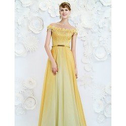 Australia Formal Dress Evening Gowns Daffodil A-line Jewel Long Floor-length Velet Chiffon