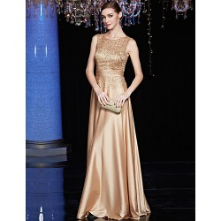 Australia Formal Dress Evening Gowns Brown A Line Jewel Long Floor Length Satin Charmeuse Sequined