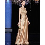Australia Formal Dress Evening Gowns Brown A-line Jewel Long Floor-length Satin Charmeuse Sequined Formal Dress Australia