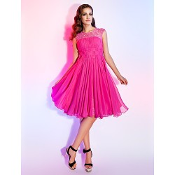 Dress Fuchsia Plus Sizes Dresses Petite A-line Princess Jewel Short Knee-length Chiffon