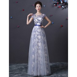 Australia Formal Dress Evening Gowns Pool A Line Jewel Long Floor Length Tulle Dress