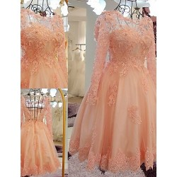 Australia Formal Dresses Cocktail Dress Party Dress Pearl Pink A-line Scoop Short Knee-length Lace Tulle
