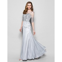 A Line Plus Sizes Dresses Petite Mother Of The Bride Dress Silver Long Floor Length Half Sleeve Chiffon Tulle