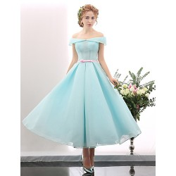 Australia Formal Dresses Cocktail Dress Party Dress Pool A-line Off-the-shoulder Tea-length Spandex