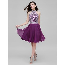Dress Grape A Line High Neck Short Knee Length Chiffon
