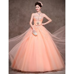 Australia Formal Dress Evening Gowns Orange Petite Ball Gown Strapless Long Floor-length Satin Tulle Polyester