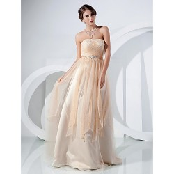 Australia Formal Dress Evening Gowns Prom Dress Champagne Plus Sizes Dresses Petite A-line Princess Strapless Long Floor-length Tulle Dress