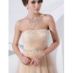 Australia Formal Dress Evening Gowns Prom Dress Champagne Plus Sizes Dresses Petite A-line Princess Strapless Long Floor-length Tulle Dress Formal Dress Australia