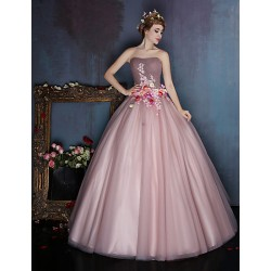 Dress Candy Pink Ball Gown Sweetheart Long Floor Length Satin Tulle
