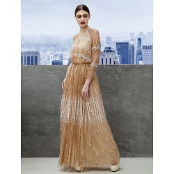 Australia Formal Evening Dress Champagne A-line Jewel Long Floor-length Tulle Dress