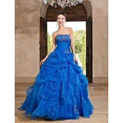 Prom Gowns Australia Formal Dress Evening Gowns Quinceanera Sweet 16 Dress Ocean Blue Plus Sizes Dresses Petite Princess A-line Ball Gown Strapless Long Floor-length