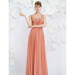 Australia Formal Evening Dress Watermelon A-line Queen Anne Long Floor-length Satin