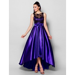 Australia Formal Dress Evening Gowns Regency Plus Sizes Dresses Petite A-line Bateau Asymmetrical Stretch Satin