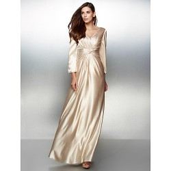 Australia Formal Dress Evening Gowns Champagne A-line V-neck Long Floor-length Charmeuse