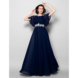 A-line Plus Sizes Dresses Petite Mother of the Bride Dress Dark Navy Long Floor-length Short Sleeve Chiffon