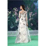 A-line Australia Formal Dress Evening Gowns White Long Floor-length Jewel Organza Satin Formal Dress Australia