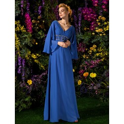A-line Plus Sizes Dresses Petite Mother of the Bride Dress Royal Blue Long Floor-length Long Sleeve Chiffon