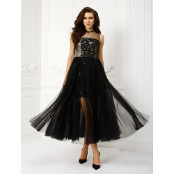 Homecoming Prom Gowns Australia Formal Dress Evening Gowns Black Plus Sizes Dresses Petite A Line Princess Jewel Tea Length Tulle