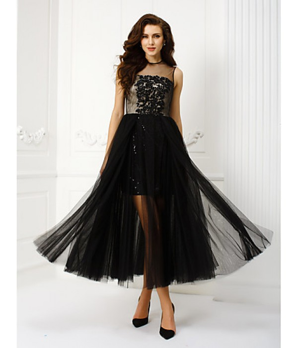 Homecoming Prom Gowns Australia Formal Dress Evening Gowns Black Plus Sizes Dresses Petite A-line Princess Jewel Tea-length Tulle Formal Dress Australia