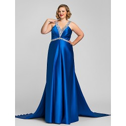 Military Ball Australia Formal Evening Dress Royal Blue Plus Sizes Dresses Petite A-line Halter V-neck Long Floor-length Satin