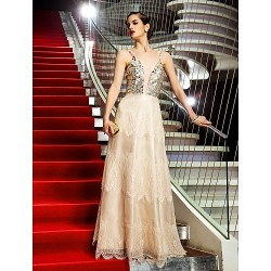 Australia Formal Dress Evening Gowns Military Ball Dress Champagne Plus Sizes Dresses Petite A-line Spaghetti Straps Long Floor-length Organza Lace