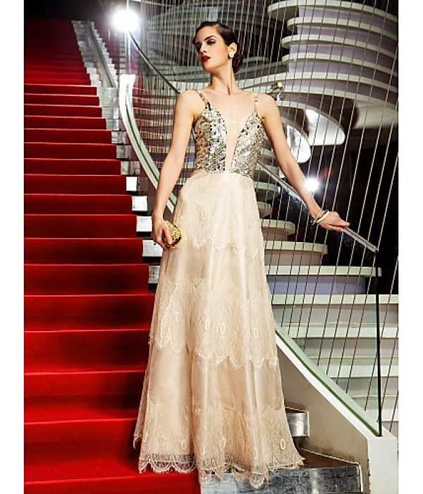 Australia Formal Dress Evening Gowns Military Ball Dress Champagne Plus Sizes Dresses Petite A-line Spaghetti Straps Long Floor-length Organza Lace Formal Dress Australia