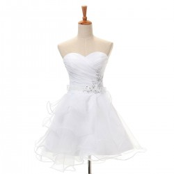 Short White Formal Dresses  Sweetheart Cocktail Dresses Elegant Prom Dresses With Beaded