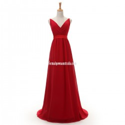 Elegant Floor-length Chiffon Prom Dresses A-line V-neck Straps Red Formal Dresses