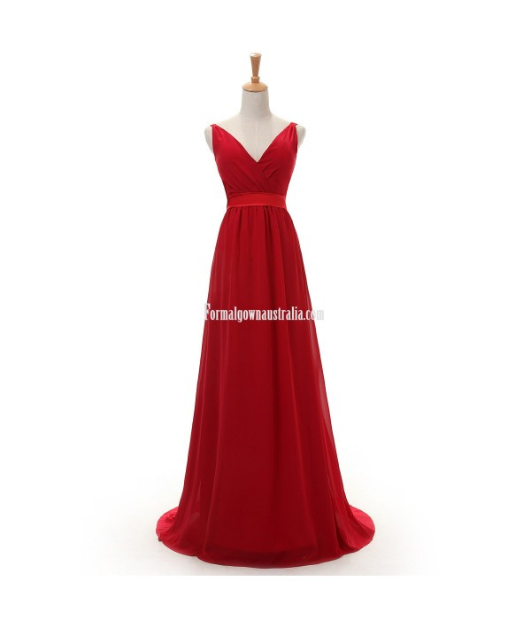 Elegant Floor-length Chiffon Prom Dresses A-line V-neck Straps Red Formal Dresses New Arrival