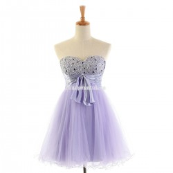 Short Lavender Tulle Sweetheart Cocktail Prom Dress Beaded Homecoming Dress With Sash