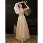 Noble Temperament Floor-length Tulle Champagne Evening Dress Beaded Embroidered V-neck Invisible Zipper Formal Dress With Beading New