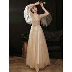Noble Temperament Floor Length Tulle Champagne Evening Dress Beaded Embroidered V Neck Invisible Zipper Formal Dress With Beading