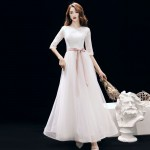 Elegant White Lace Tulle Long Evening Dress Crew-neck Invisible Zipper Back Half Sleeves Formal Dress New