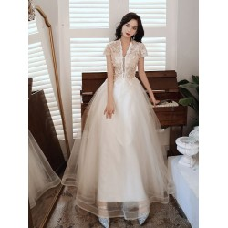Fashion Elegant Floor-length Light Champagne Tulle Evening Dress Deep V-neck Lace-up Semi Formal Dress With Sequines/Beading