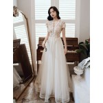 Fashion Elegant Floor-length Light Champagne Tulle Evening Dress Deep V-neck Lace-up Semi Formal Dress With Sequines/Beading New