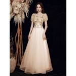Fashion Floor-length Champagne Tulle Prom Dress V-neck Zipper Back Short Sleeves Formal Dress With Sequines New