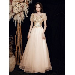 Fashion Floor Length Champagne Tulle Prom Dress V Neck Zipper Back Short Sleeves Formal Dress With Sequines