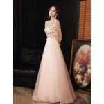 Romantic Floor-length Pink Tulle Evening Dress Crew-neck Zipper Back Long Sleeves Formal Dress With Sequines New